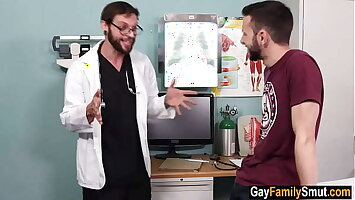Gay doctor examines his cousin's ass
