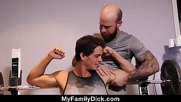 Older Tattooed Muscle Daddy Coaches Virgin Stepson On Thick Cock